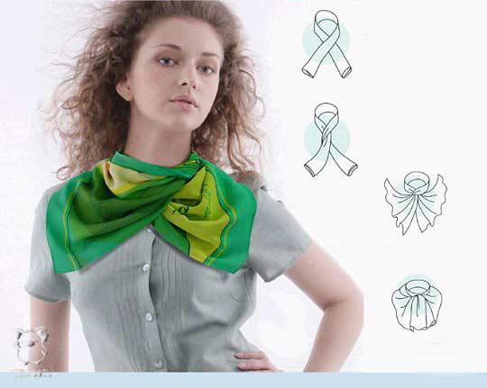 ...показано несколько способов как красиво завязать платок своими руками.